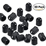 tire dust covers - Young4us 20 PACK Plastic Tire Valve Cap Dust Cover for Car, Motorbike, Motorcycle, Truck, Bike and Bicycle, Electric Car, Self-Balance Scooter, Tricycle, Black Color (1.3 x 1.0cm)