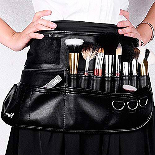 MSQ Makeup Brush Belt Apron Bag Case Multi Pocket Foldable Fanny Pack Cosmetic Brush Pouch Holder Organizer with Adjustable Artist Belt Strap Best for Artist/Fashion Stylist