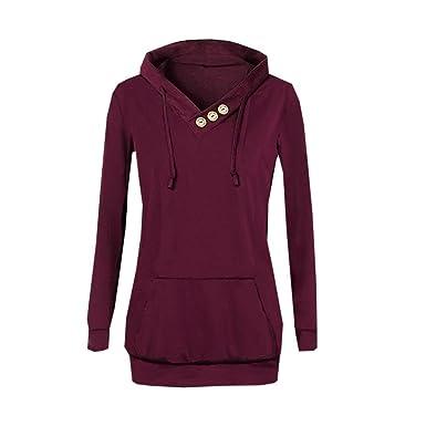 Hffan Long Sweatshirt Hoodie Damen Kapuzenpullover Oversize Lange Pullover  Hoodies Pullis Shirt Langarm Sweater Oberteile Pullover Mit Kapuze Tops ... a32f047a83
