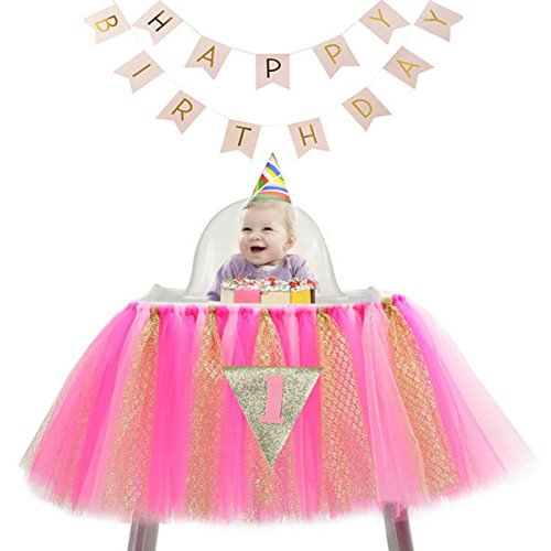 First Chair (1st Birthday Tutu Skirt for High Chair Decoration for Party Supplies Baby Pink)