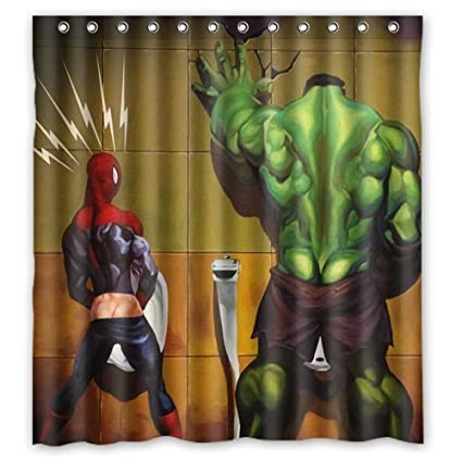 Feitianshendan Superhero Hulk In The Toilet Custom Design Shower Curtain Personalized Bath 66 72 Inch
