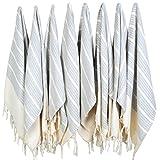 (SET of 8) Turkish Cotton Hand Face Head Guest Gym Towel Set Peshtemal Washcloth Kitchen Tea Towel Dish Cloth Set (Grey)