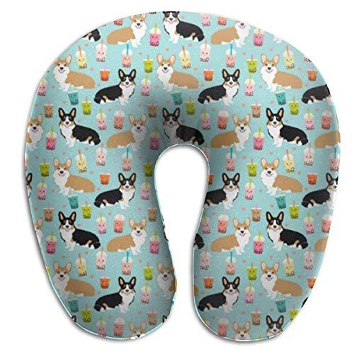 (SINOVAL Corgi Bubble Tea - Tri Red Corgis Travel Pillow Memory Car Airplane Office Home CAF¨¦ Bus Printed U-Shape Chic Neck Pillow)