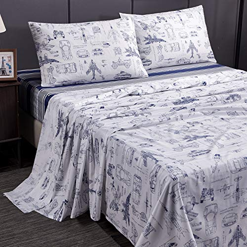 Brandream Boys Sheets Set Queen Size Cars Tank Helicopter Aircraft Military Transport Vehicles Bedding Sets for Kids Teen Boy Children 100% Cotton ()