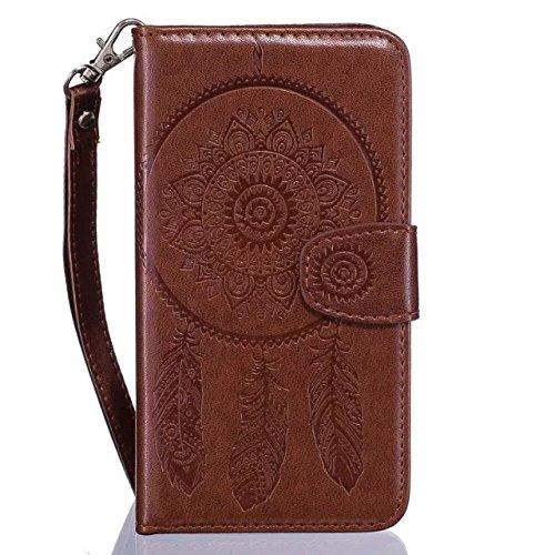 IKASEFU押さレトロドリームキャッチャーパターンフローラルレザー財布フリップケースカバーストラップ付きIphone SE / 5s / 5-flower、ホワイト WX7862X6 B01N63LKCG  Flower,Brown