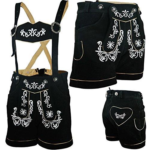 PAULGOS Damen Trachten Lederhose --- Echtes Leder --- Schwarz --- Kurz M2, Damen Größe:44