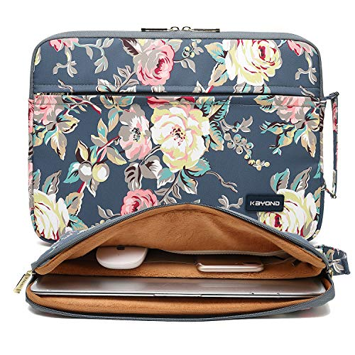 KAYOND Nylon Fabric 13.3 Inch Laptop Sleeve case for 12.5 inch 13inch Notebook Computer 12.9 Pocket Tablet (13-13.3 INCH, Blue Water Hyacinth)