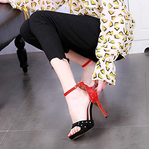 banchetti alti A estate tacchi moda tacco Stiletto sandali donna partito abbinabile colore rivetto alto da sexy YMFIE qZxOFgnn