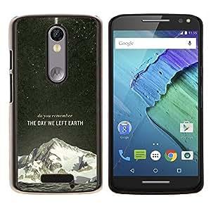 El día que nos fuimos Tierra Galaxy Rocket- Metal de aluminio y de plástico duro Caja del teléfono - Negro - Motorola Droid Turbo 2 / Moto X Force