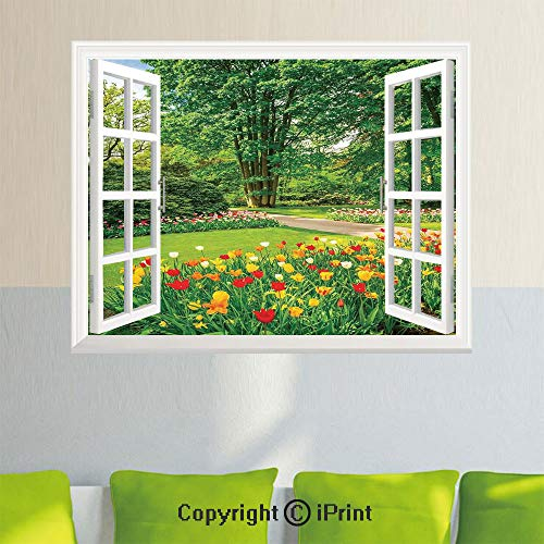 Spring Foliage - Fashion Wall Sticker,Garden in Keukenhof Colorful Tulip Flowers and Trees Foliage Spring in Netherlands,27.5x23.6inch,Fake Window Simulation Stickers,Home Decor