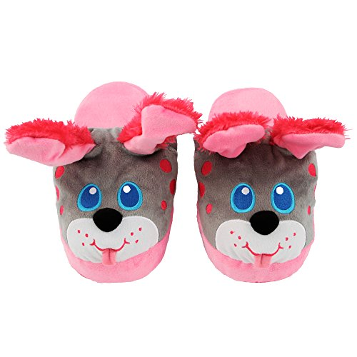 3m Dog Treats (Stompeez Animated Pink Puppy Plush Slippers - Ultra Soft and Fuzzy - Ears Flap as You Walk - Medium)