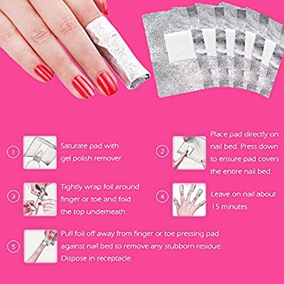 MIILYE Nail Foil Wraps Remover for Acrylic/UV/Gel Polish Soak-off Removal, with Pre-attached Lint Free Pad, Pack of 200 Wraps + 1x Stainless Steel Nail Manicure Remover Scraper Cuticle Pusher