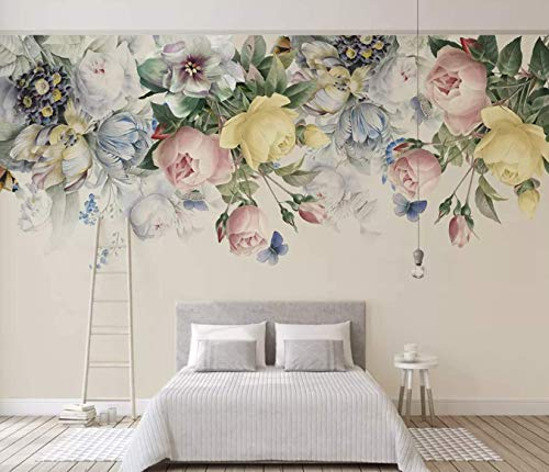 Murwall Floral Wallpaper Colorful Floral Wall Mural Peony Flower Watercolor Paint Art Classic Cafe Design English Home Decor Living Room Bedroom