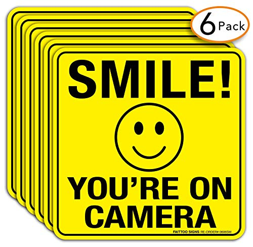 6 Pack Faittoo Smile You're On Camera Sign Stickers - 6 x 6 Inches- 4 Mil Viny - Laminated for Ultimate UV, Weather, Scratch, Water and Fade Resistance - Easy to Stick - Use for CCTV Security Camera