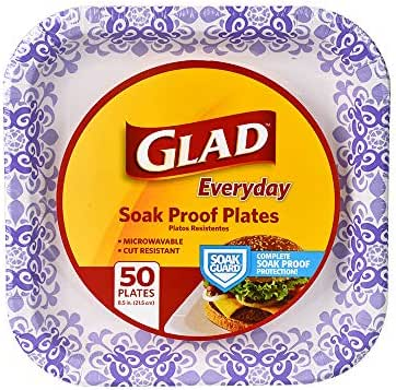 Glad Square Disposable Paper Plates for All Occasions   Soak Proof, Cut Proof, Microwaveable Heavy Duty Disposable Plates  50 Count Bulk Paper Plates   Size : 8.5