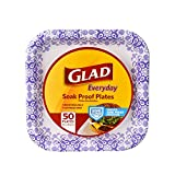 Glad Square Disposable Paper Plates for All Occasions | Soak Proof, Cut Proof, Microwaveable Heavy Duty Disposable Plates |50 Count Bulk Paper Plates | Size : 8.5""
