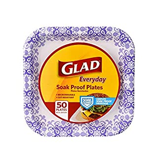 "Glad Square Disposable Paper Plates for All Occasions | Soak Proof, Cut Proof, Microwaveable Heavy Duty Disposable Plates | 8.5"" Diameter, 600 Count Bulk Paper Plates"