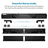Soundbar, TaoTronics Sound Bar Wired and Wireless Bluetooth Audio (34-Inch Speaker, 2 Passive Radiators, Dual Connection Methods, Touch and Remote Control, Wall Mountable, Updated Version)