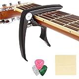 COOCHEER Zinc Alloy Guitar Capo Pin Puller Capo,3 Free Guitar Picks and 1 piece Guitar Wiper for Acoustic, Electric Guitars,Ukulel, Banjo and Mandolin (black)