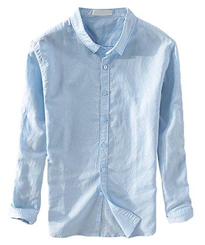 utcoco Men's Original Collared Front Button Slim Long Sleeve Linen Shirts One Pocket (Large, Light Blue-No Pocket)