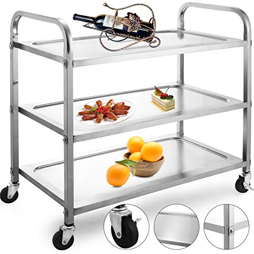 VBENLEM Utility Cart 3 Shelf Utility Cart on Wheels 330Lbs Stainless Steel Cart Kitchen Bus Cart Food Cart Catering Rolling Dolly with Double Handle