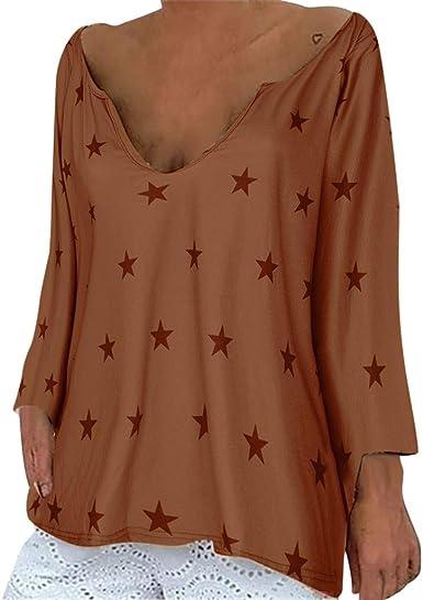 Camisa Larga Mujer Tops Deportivos Fiesta Sexy Moda Blusa De Manga para Camisas con Cuello En V Estilo Suelto Casual De OtoñO Tallas Grandes: Amazon.es: Ropa y accesorios