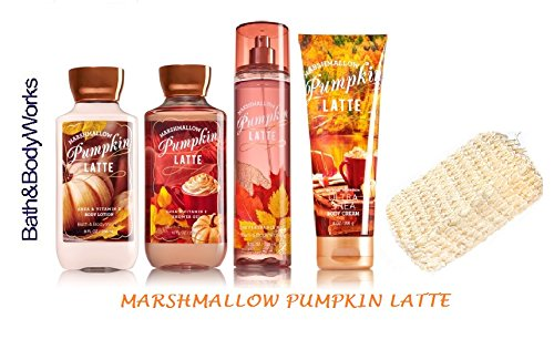 Pumpkin Marshmallow - Bath & Body Works MARSHMALLOW PUMPKIN LATTE Gift Set - Body Lotion - Body Cream - Fragrance Mist & Shower Gel + FREE Sisal Sponge