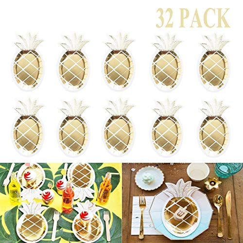 Pineapple Paper Plates - 32 PCS Gold Foil Pineapple Paper Plates Disposable Plates Tableware Set for Luau Hawaiian Birthday Party Supplies