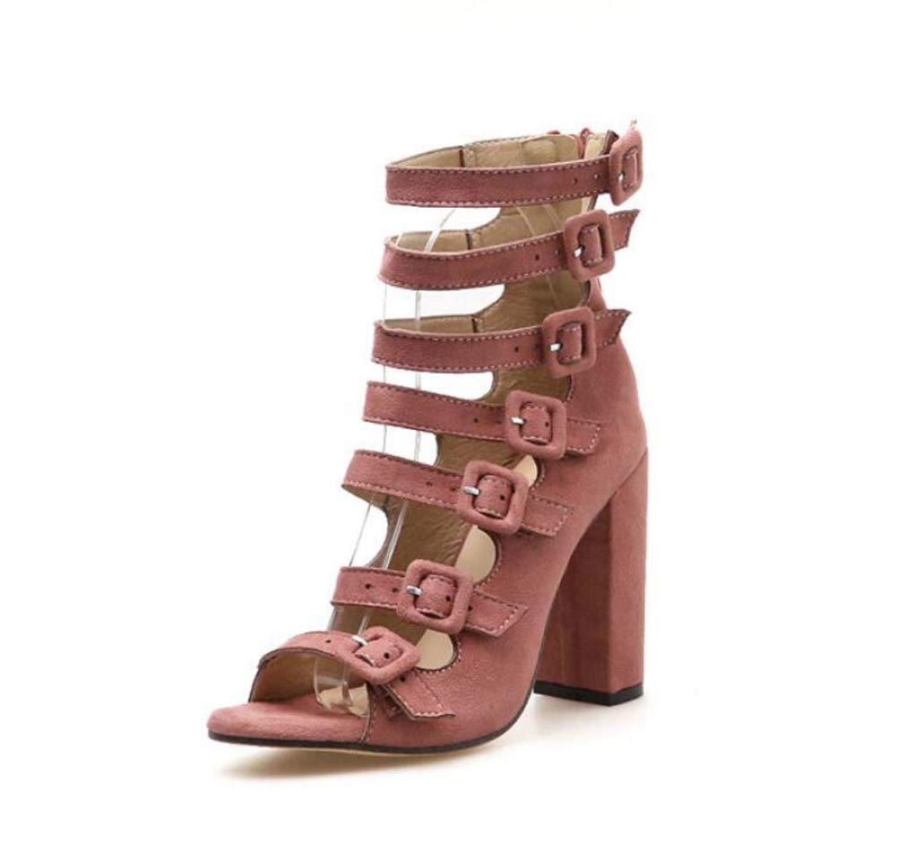 Mamrar Coole Stiefel Frauen 10,5 cm Chunkly Heel Peep Toe Hollow Knöchel Bootie Gürtelschnalle Reißverschluss Roma Sandalen EU-Größe 35-40