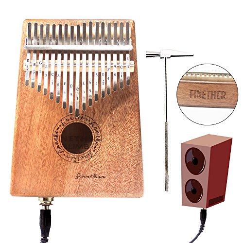 17 Keys Mahogany Kalimba Thumb Piano Wood Mbira Sanza Finger Percussion Pocket Keyboard w/Calibrating Tune Hammer for Beginners and Children (Mahogany with pick up jack) by AHongem