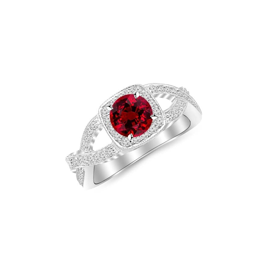 2.15 Carat 14K White Gold Twisting Split Shank Modern Contemporary Halo Diamond Engagement Ring with a 1.5 Carat Natural Ruby Center (Heirloom Quality)