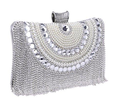Pochette LOUHH Prom Diamante Sac Glitter à Main Gland Soirée Main Perle Mariage Cadeau Sac Bandoulière Sequin à Dames Femmes Silver Clubs Sac Pour À Nuptiale RrrwFq5fW