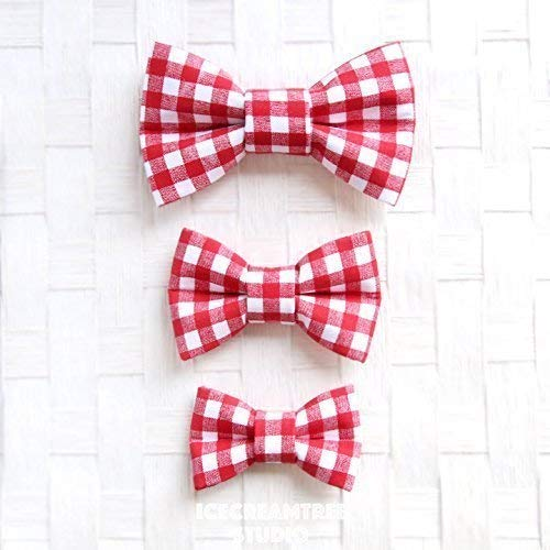 aee6254c4753 Amazon.com: Red Gingham Check - Bow Tie Collar Slide On, Collar Add On  Bowtie, Bow Collar Accessories: Handmade