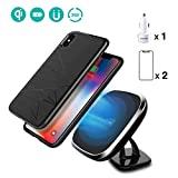 Wireless Car Charger, Nillkin [2nd Generation] 2-in-1 Qi Charging Pad Magnetic Car Mount with Gift Set Magnetic Phone Case/Tempered Glass Screen Protector 2 Pack/Car Charger Adapter For iPhone X/10
