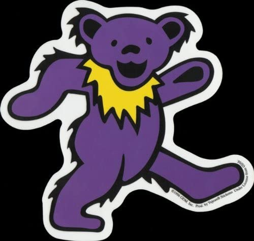 Dancing Bear Decal Pink with Purple Necklace Bumper Sticker