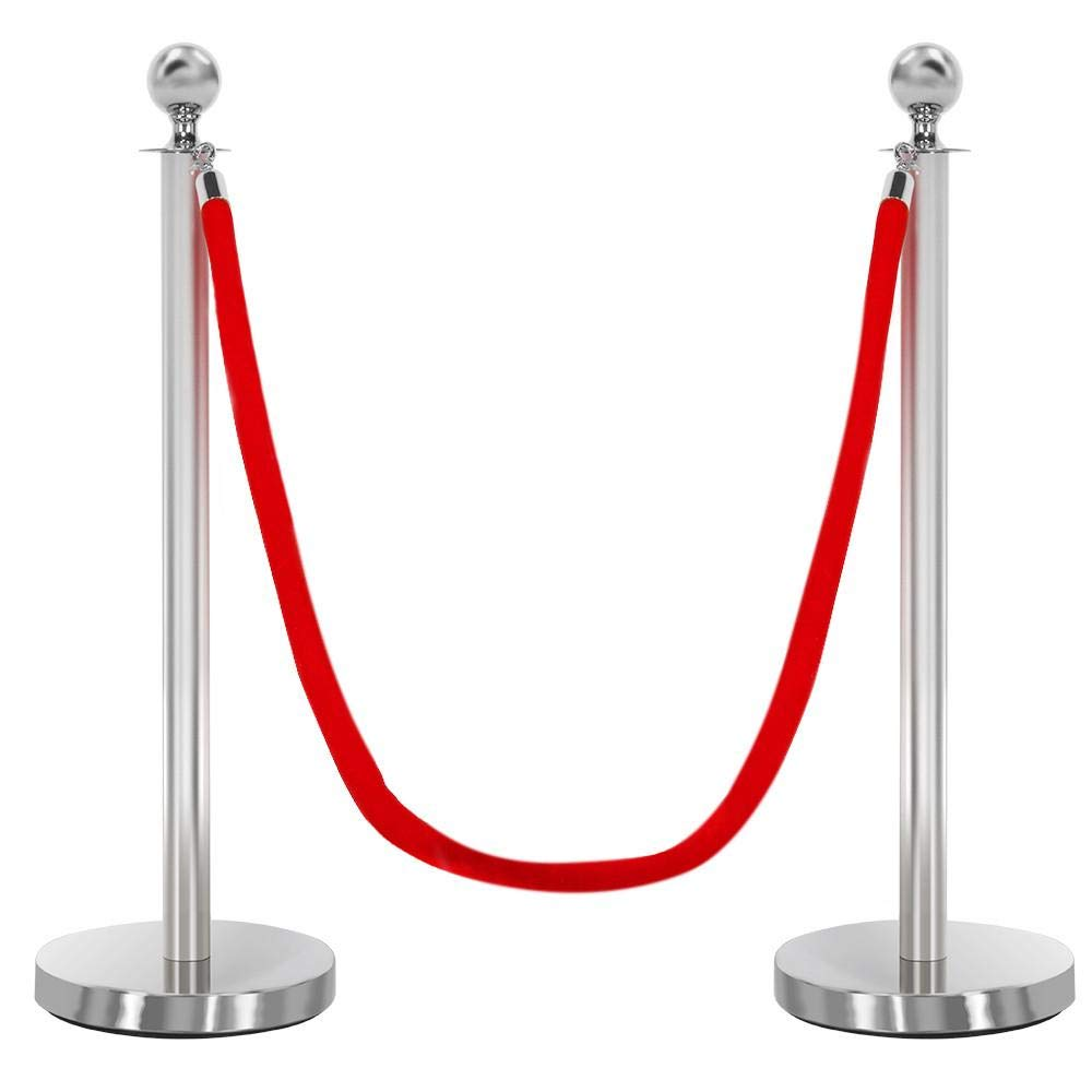 Yaheetech Round Top Stainless Plated Stanchions, Set of 2 Pcs with 1 of 6.5ft Red Velvet Rope, Silver