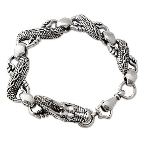 NOVICA .925 Sterling Silver Men's Chain Link Dragon Bracelet, 8.5