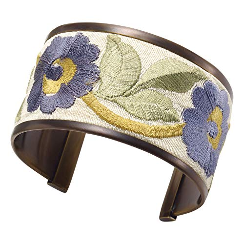 FLORIANA Women's Floral Embroidered Ribbon Trim Cuff Bracelet -1 3/8