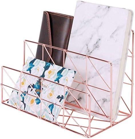 Nugoo Trieur de courrier dossiers brochures et cartes postales taille moyenne maquillage support de fil de bureau pour lettres or rose 2 fentes courriers