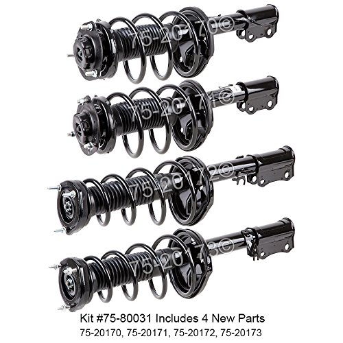 [Complete Set New Front & Rear Left & Right Strut Shock Coil Spring Assembly - BuyAutoParts 75-800314C New] (Front Left Strut Assembly)