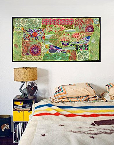 Patchwork Hanging (INDIAN TAPESTRY WALL HANGING TABLE RUNNER PATCHWORK ETHINIC SARI WORK HANDMADE)