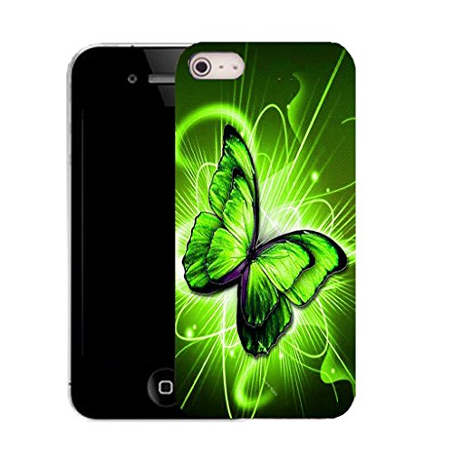 Mobile Case Mate IPhone 4 clip on Silicone Coque couverture case cover Pare-chocs + STYLET - GREEN TWIRL BUTTERFLY pattern (SILICON)