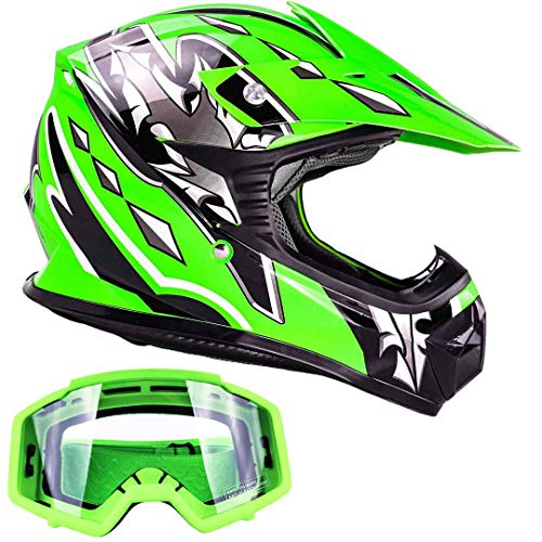 Kids Youth Offroad Gear Combo Helmet & Goggles DOT Motocross ATV Dirt Bike MX Motorcycle Green w/Green, ()