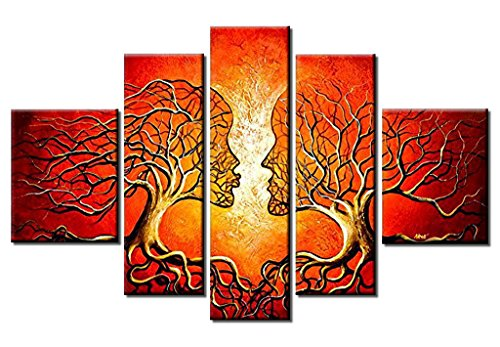 100% Hand-Painted Oil Paintings Contemporary Red Human Body Face Kiss Couple Tree 5-Piece Abstract Clouds Lovers Kissing Landscape Hanging Wall Decoration Living Room Decoration Art by uLinked Art