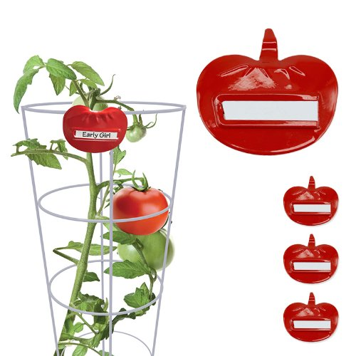 Red Steel Tomato Cage Plant Markers - Set of 3 With Identification Tags (Plant Marker Set)