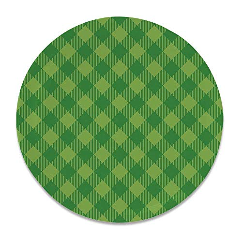 - YOLIYANA Irish Ceramic Decorative Plate,Retro Pattern in Vivid Green Cultural Fashionable Checkered Traditional Tile for Home Décor,7 inch
