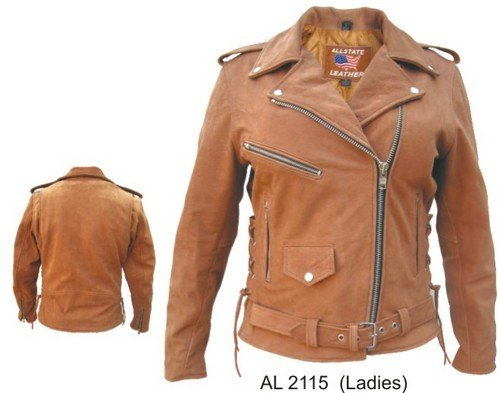 Ladies BROWN PREMIUM BUFFALO Leather Motorcycle Biker Jacket ZIPOUT lining & SIDE-LACES XS to 5XL