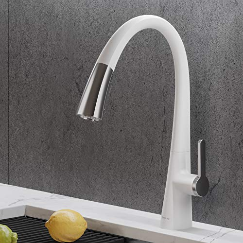 Kraus KPF-1673CHWH Nolen Dual Function Pull-Down Kitchen Faucet, Matte White/Chrome Finish