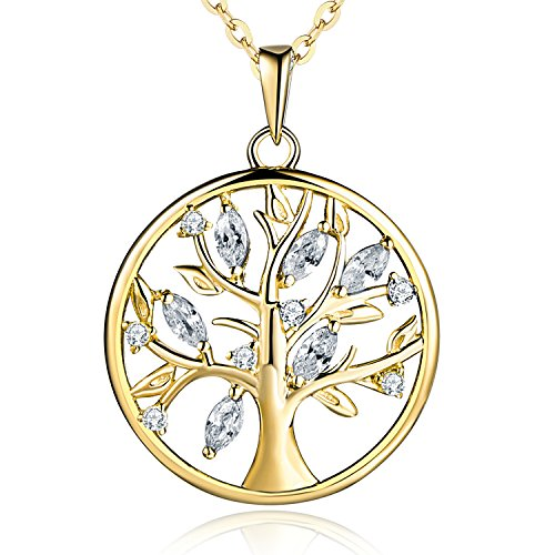JO WISDOM 925 Sterling Silver Cubic Zirconia Gold Tree of Life Family Pendant Necklace,18-20