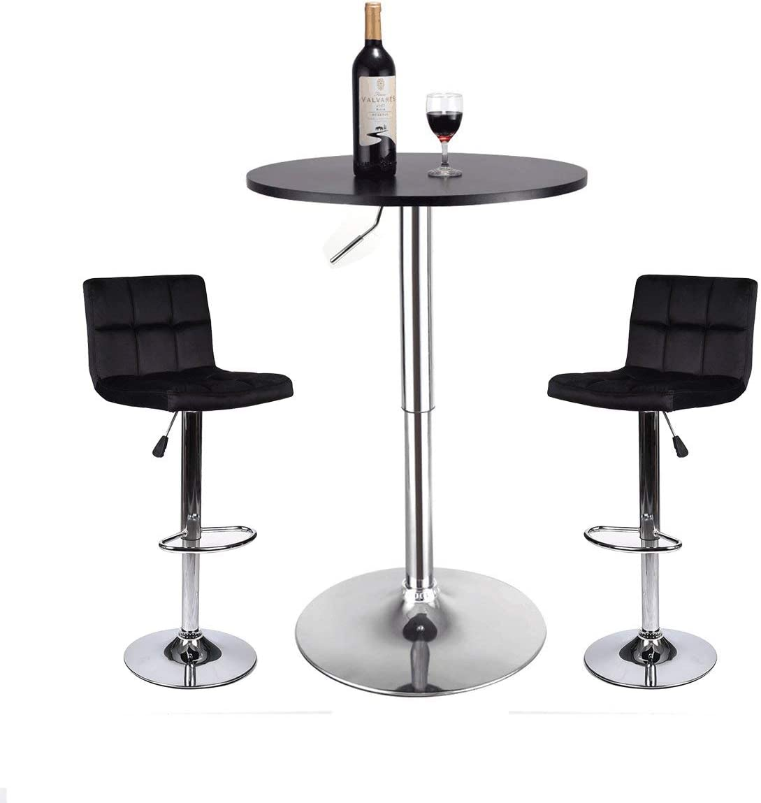 YOURLITEAMZ Bar Table and Stools Set - Pub Table and Chairs Set 3 Piece Adjustable Bar Height Table 24 Inch Modern Swivel Counter Height Bar Stools Set of 2 for Kicthen Home Pub